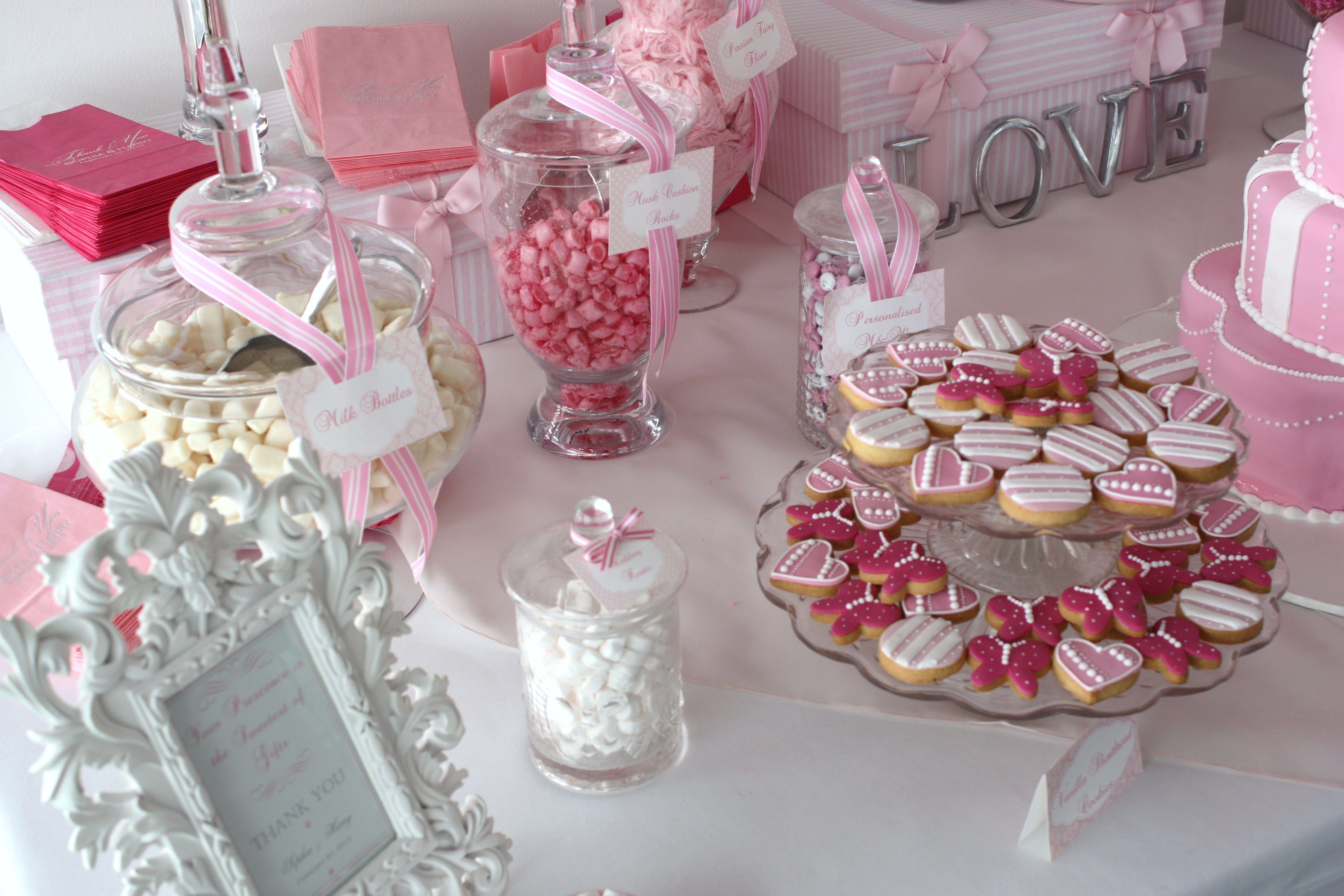 Candy Buffet Ideas   Sugarcoated Pink And White Candy Buffet   The Sweetest  Occasion .