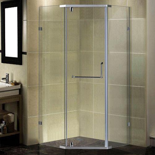 37 X 75 Pivot Semi Frameless Shower Door Shower Enclosure Rectangular Shower Enclosures Shower Doors