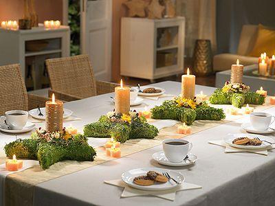 Tischdeko Fur Weihnachten Gestecke In Sternform Als Tischdeko Wohnen Garten Weihnachtsdekoration Gartentisch Dekoration