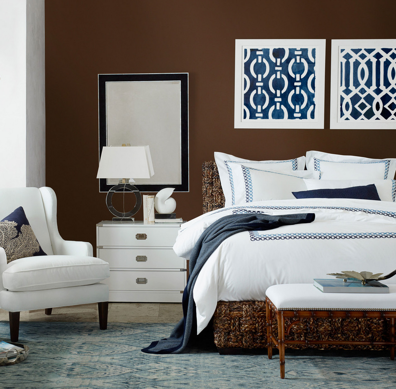 Navy, Brown & White Modern Bedroom Design