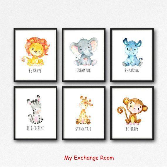 Druckbare Dschungel Tiere Kinderzimmer Kunst, Tiere