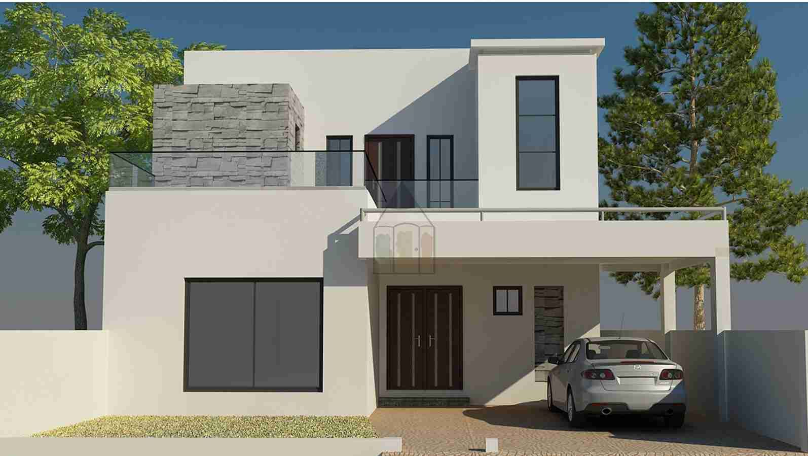 10 marla house design front elevation house elevation for Modern house map