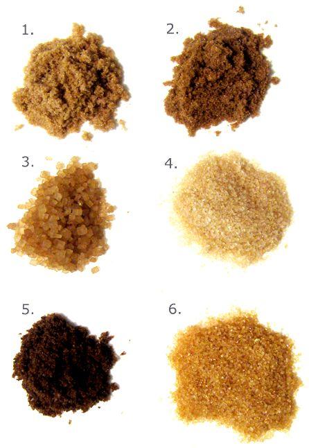 1 Brown Sugar 2 Dark Brown Sugar 3 Coffee Sugar 4 Raw Sugar 5