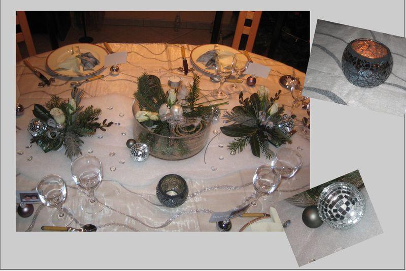 D co table noel argent et blanc esteltouch pinterest - Table de noel blanc et argent ...