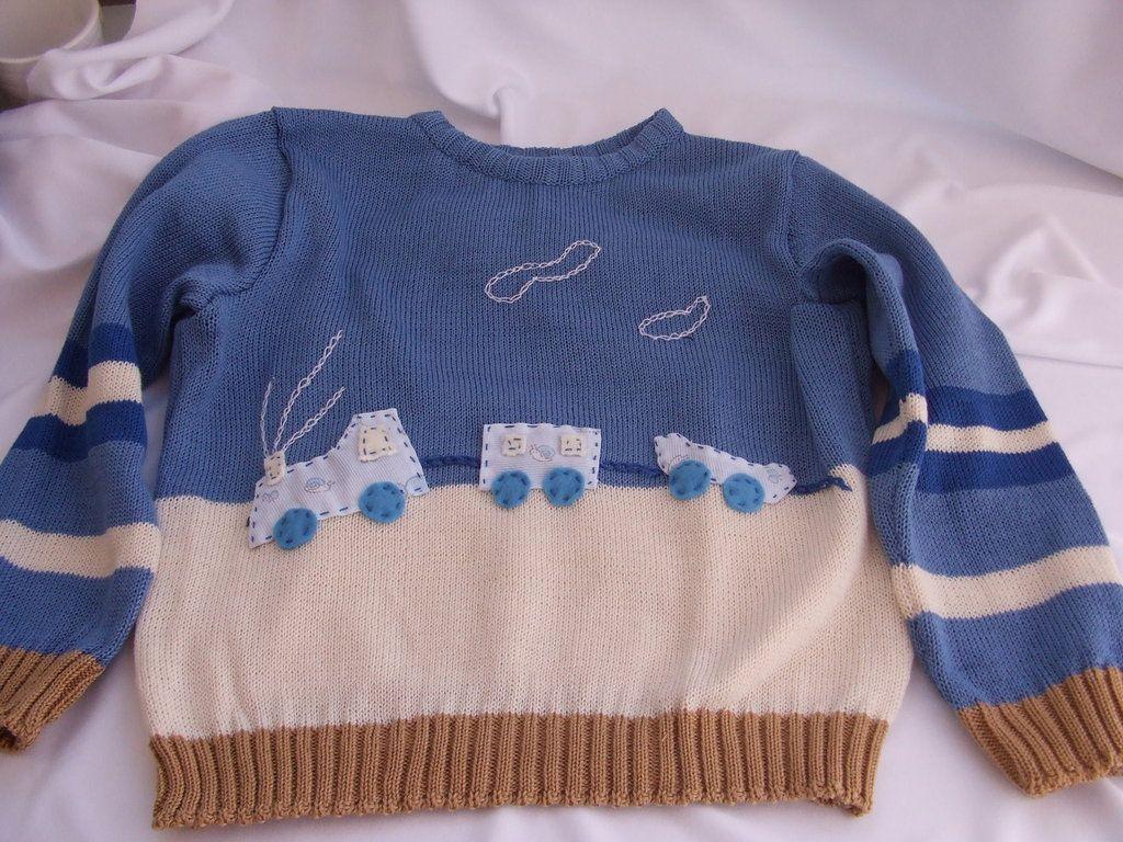 golfino bimbo cotone o lana trenino maglia, by maglieria magica, 32,00 € su misshobby.com