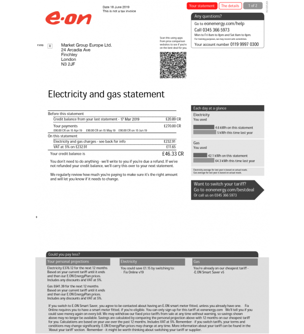 EON, Utility (UK, EU) in 2020 Doctors note, Electrical