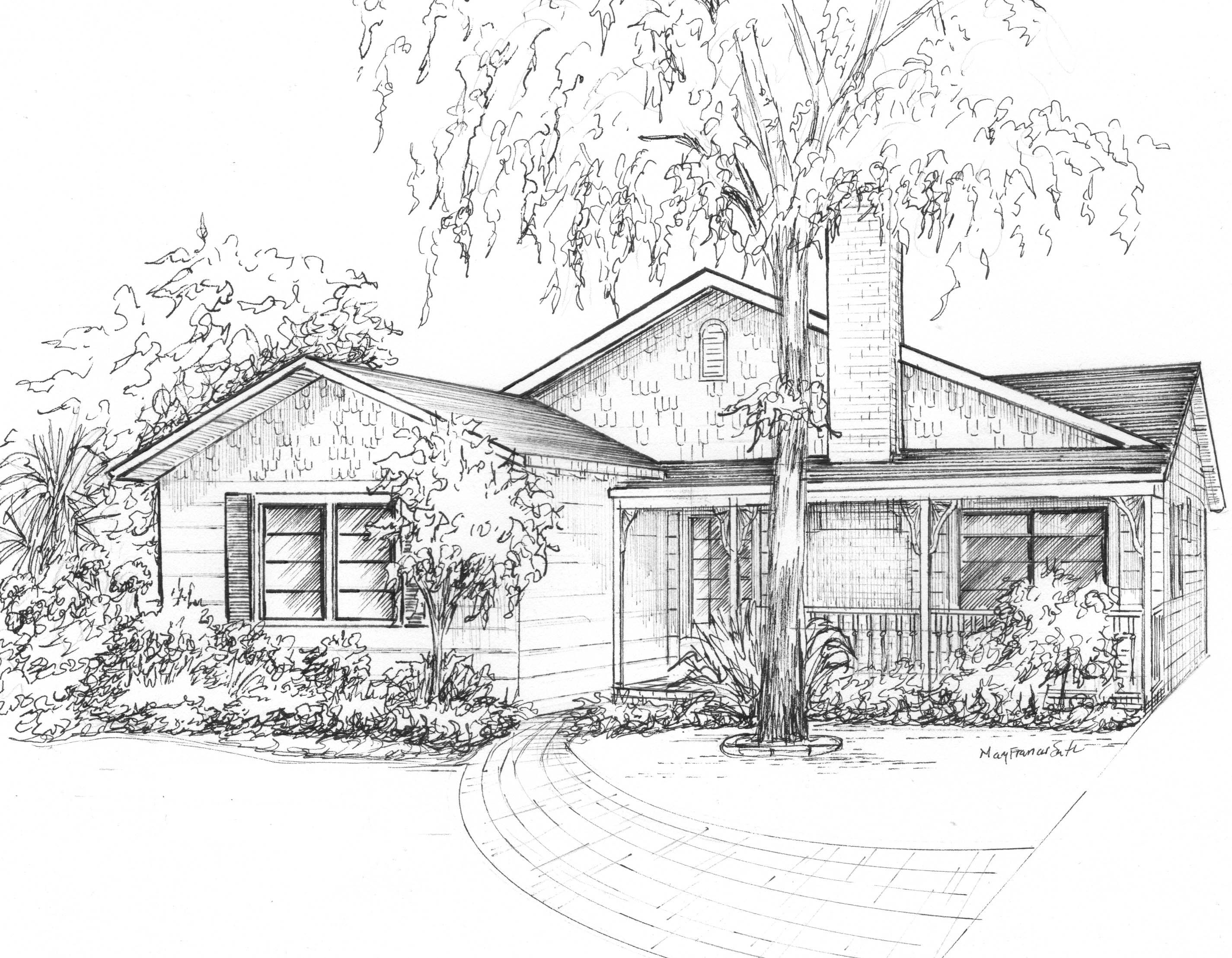 Architectural Illustration Of Your House Landscape Sketch Architecture Drawing Draw On Photos