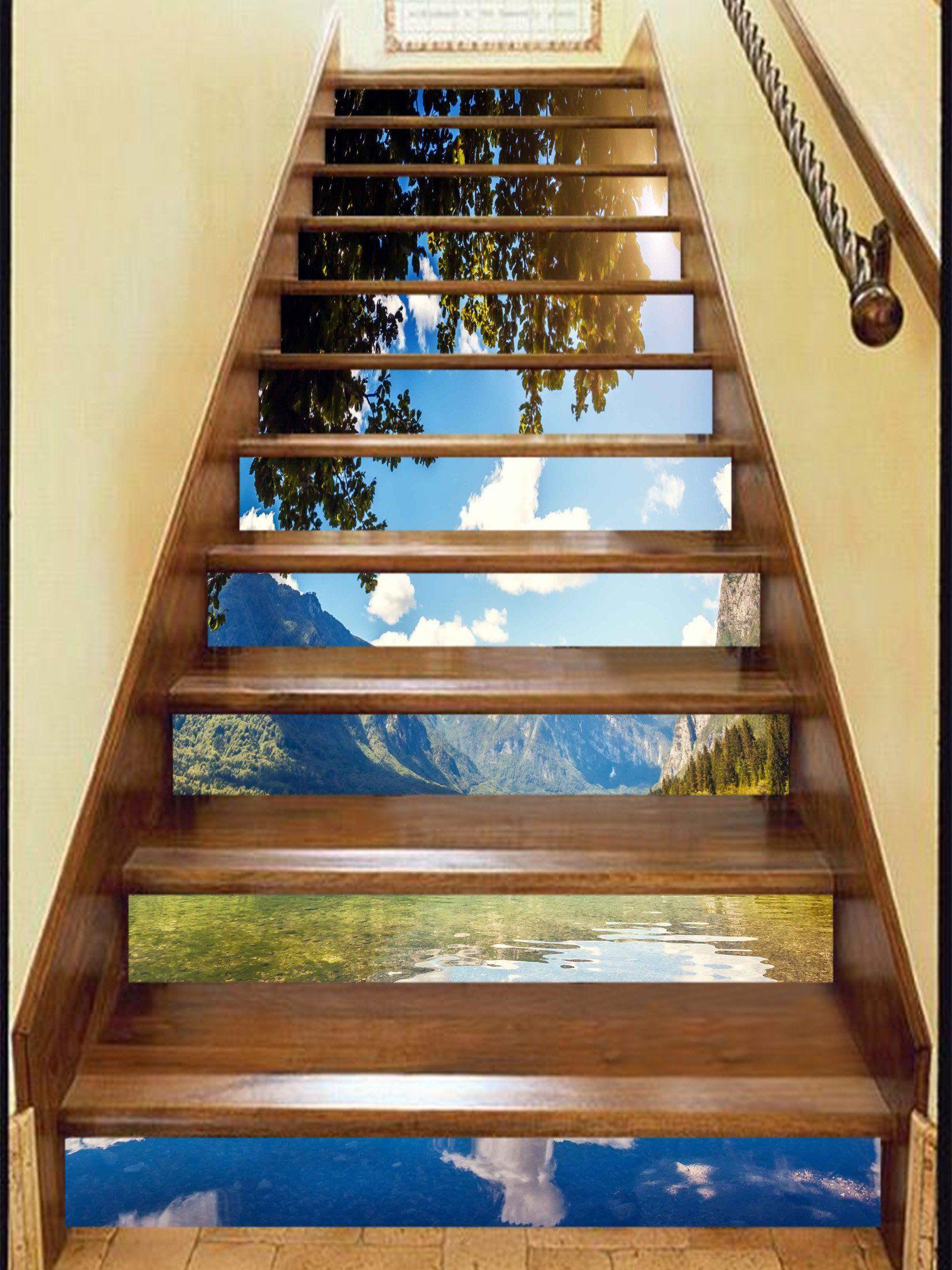 Best 3D Lake Blue Sky 892 Stair Risers Stair Risers 400 x 300