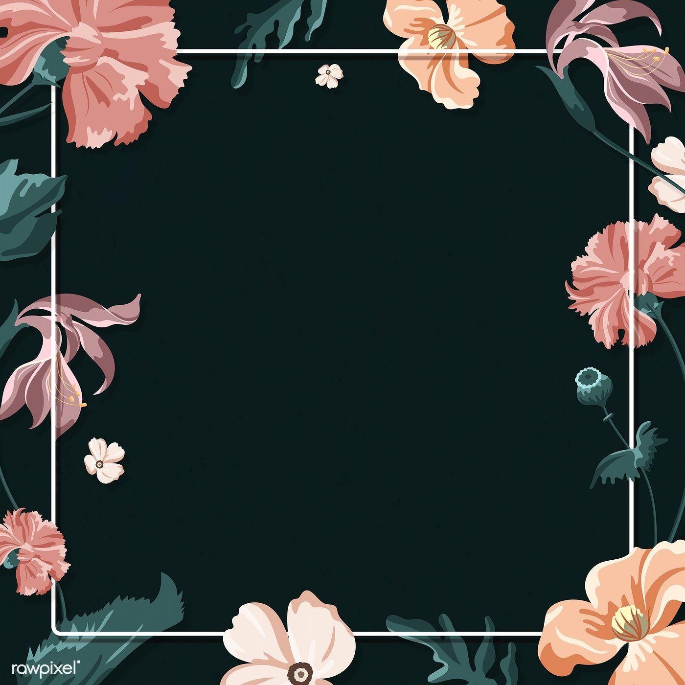 Download Premium Illustration Of Colorful Floral Frame On A Black Flowers Black Background Flower Background Wallpaper Floral Border Design