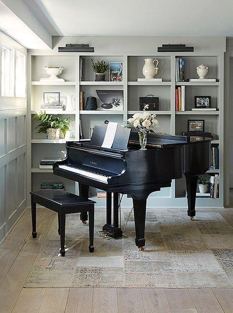 New home library study grand pianos ideas | Piano room ...