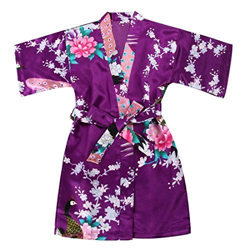 Girls Stain Kimono Peacock Flower Robe for Spa Party Wedding Birthday