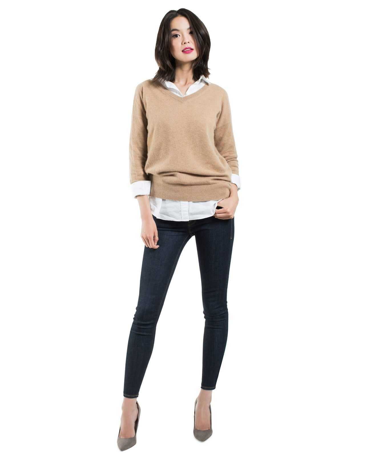 Women's Cashmere Boyfriend V-Neck Sweater - Sweaters - Top - WOMEN ...