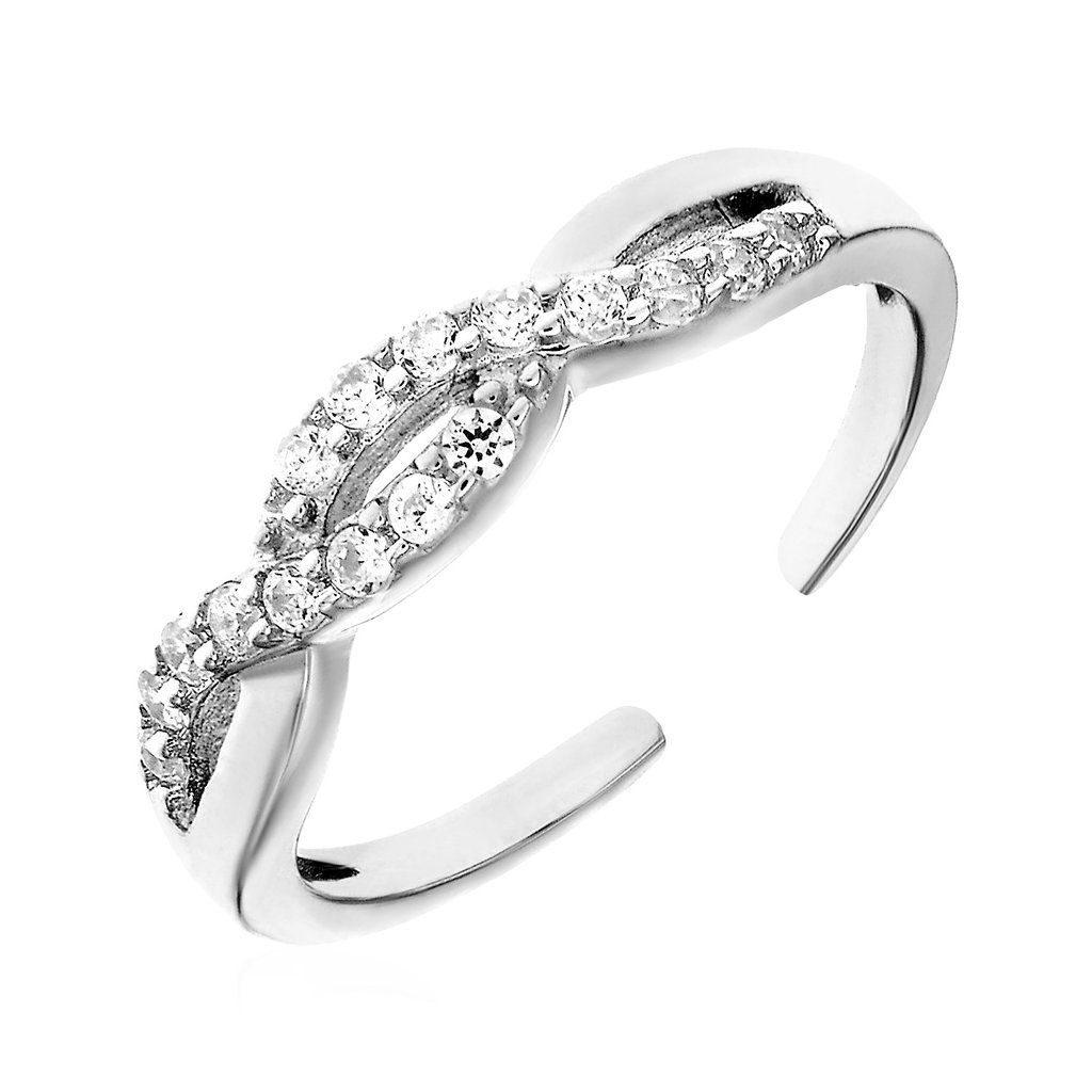 Buy For Less Rhodium Plated 925 Sterling Silver Ocean Wave Design Ring