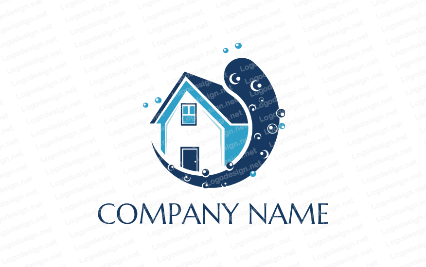 Cleaning Home Service Vector Logo Design Eco Friendly Concept With Splash Water Illustration Spons Cleaning Business Cards Cleaning Logo Vector Logo Design