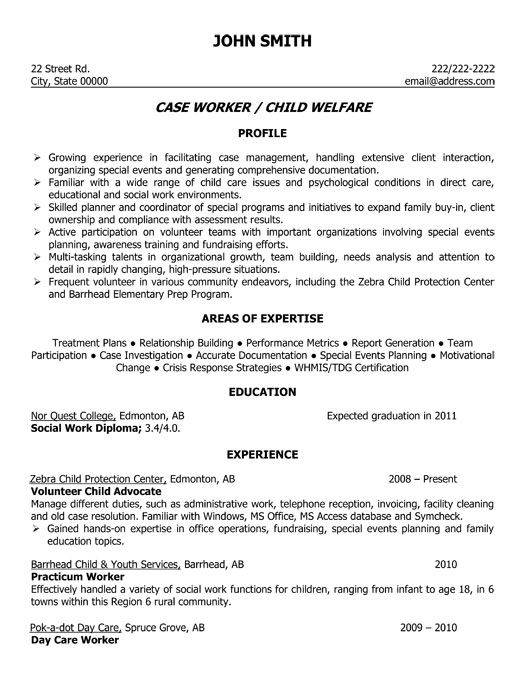A professional resume template for a Child Welfare Case Worker - Social Worker Resume Examples