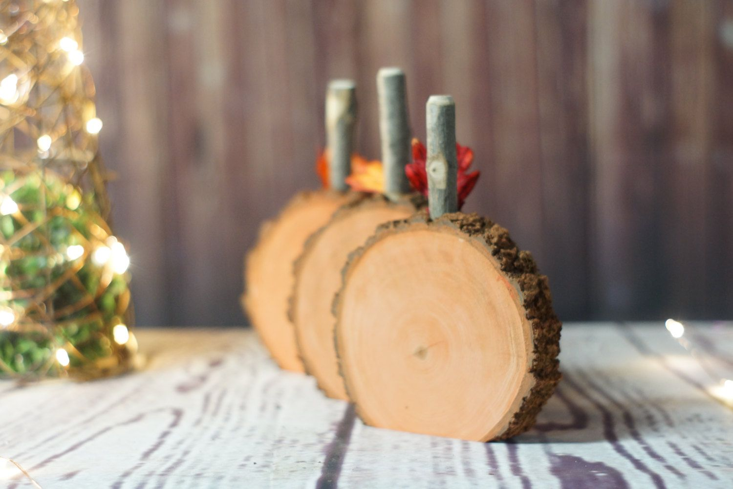 Log Slice Pumpkins, Pumpkin decor, Wood Pumpkins, Rustic Halloween