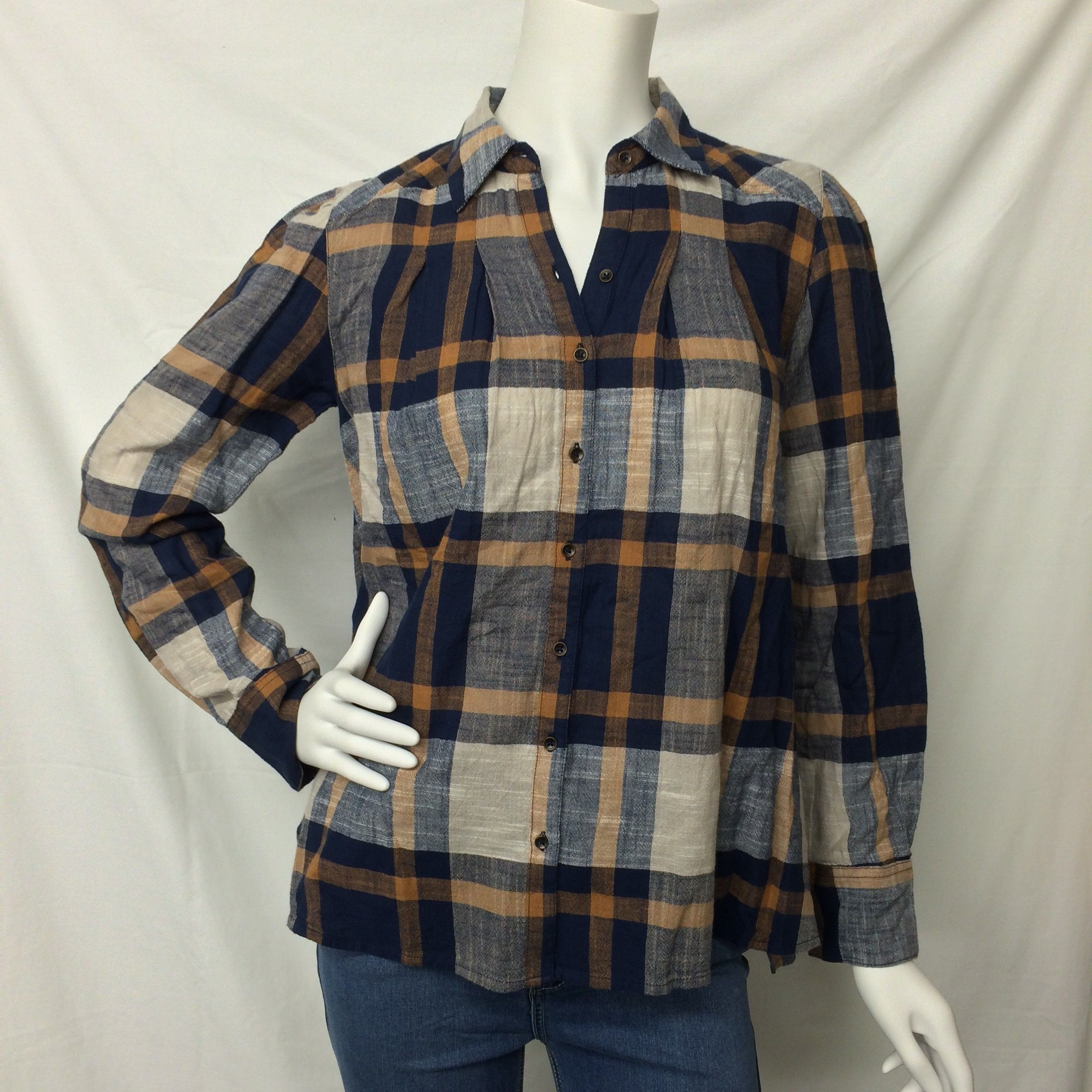 Free People- Navy and White Plaid Button Down Shirt  - Suburban Casuals