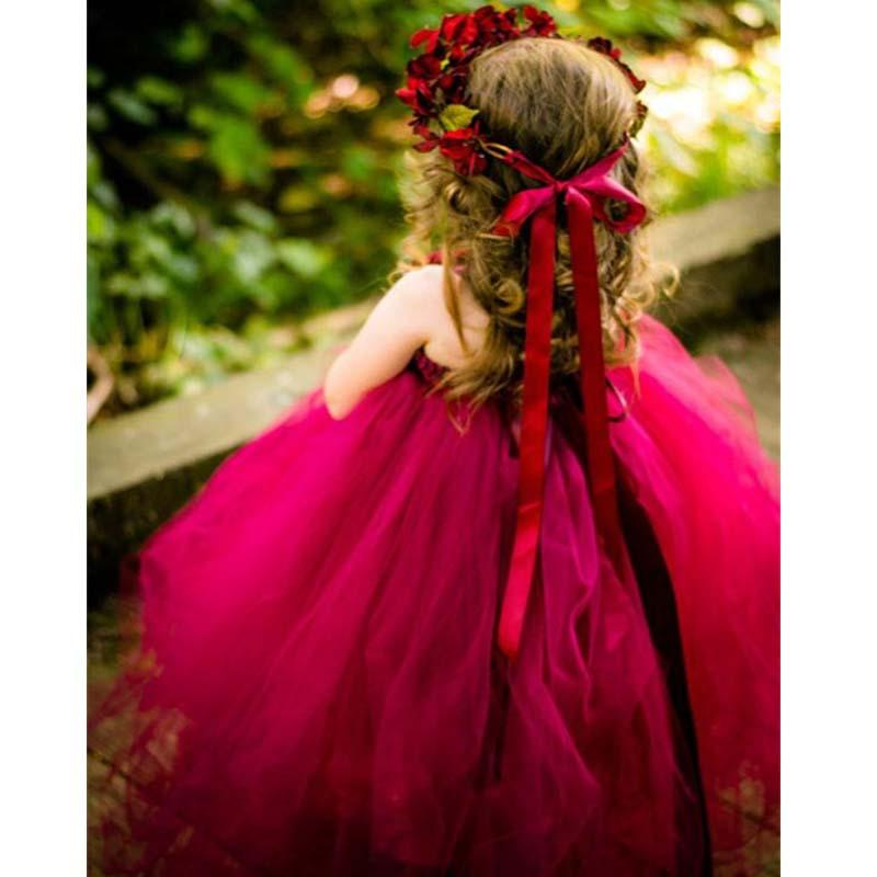 Beautiful Burgundy Regular Straps A-Line Tulle Flower Girl -3124