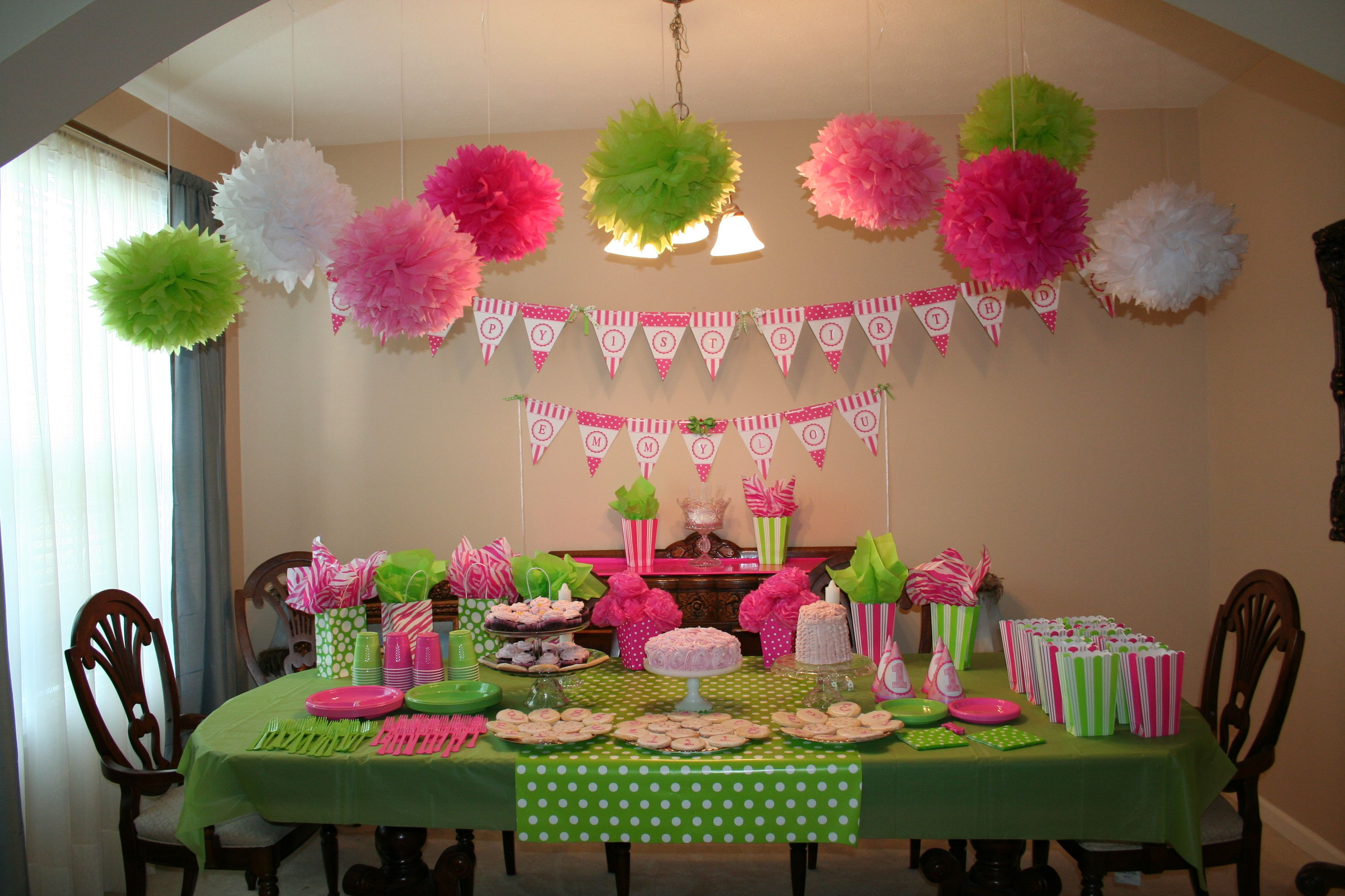 Pink and Green Couture Birthday Party for 1 year old granddaughter