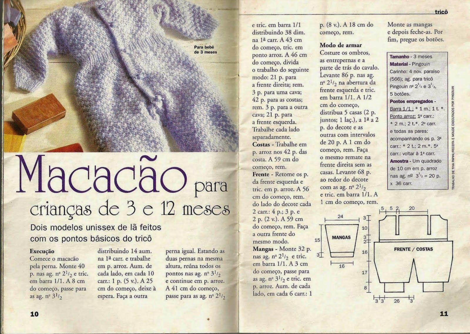 Crochê Tricô do Bebê: Macacão em tricô para bebes de 3 a 12 meses