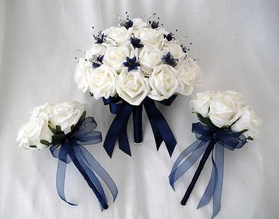 Posies Artificial Wedding Flowers Brides With 2 Bridesmaids Posy Bouquets In Ivory Navy Blue