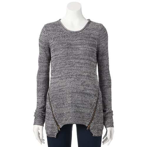 JJ Always Marled Double Zipper Sweater - Juniors
