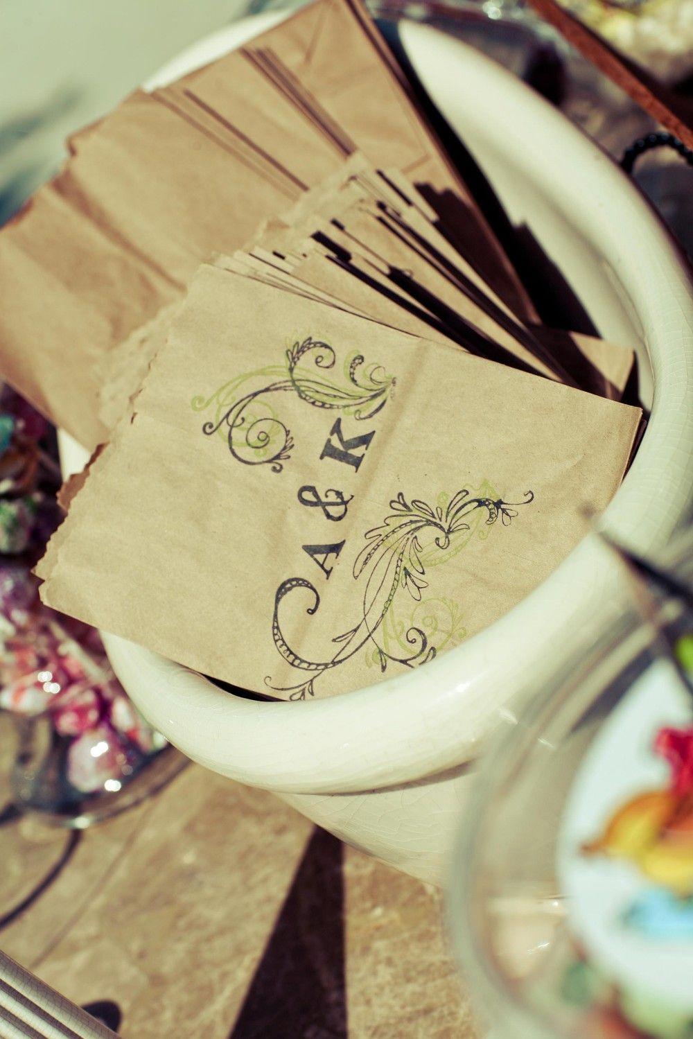 SAMPLE Wedding Favor Candy Bag. Custom. Rustic Chic. Hand