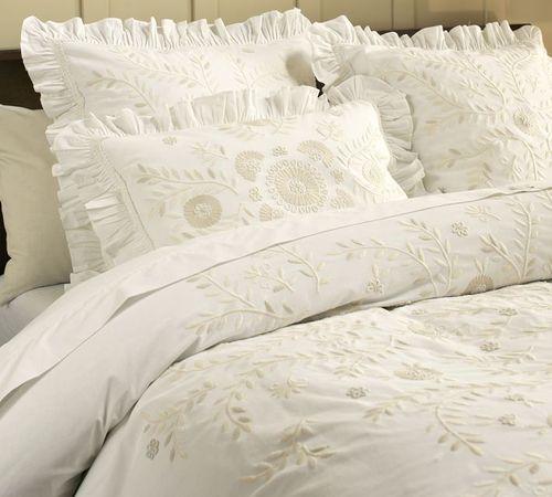 New Pottery Barn Carmen Embroidered Full Queen Duvet 2 Std Shams Hard To Find Embroidered Duvet Cover White Bed Set Duvet Covers