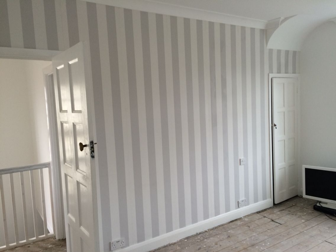 . Grey stripe wallpaper  Lille by Laura Ashley  Bedroom  k wood