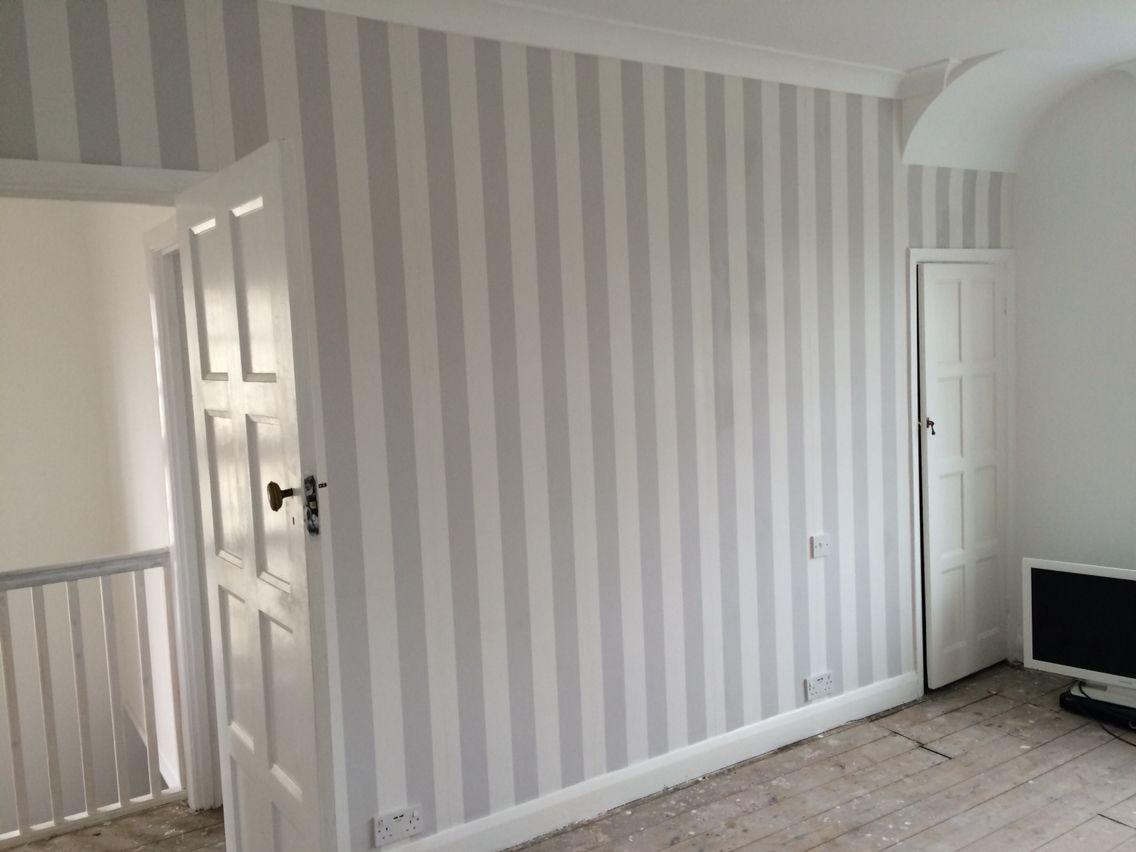 Grey Stripe Wallpaper Lille By Laura Ashley Bedroom K Wood