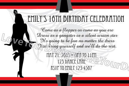 roaring 20s party invitations | Roaring 20's Flapper Girl Birthday ...