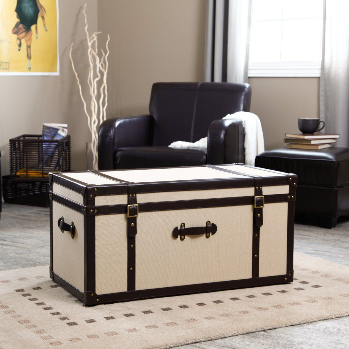 Comfy White Trunk Coffee Table On The Cream Rug Paired With Black