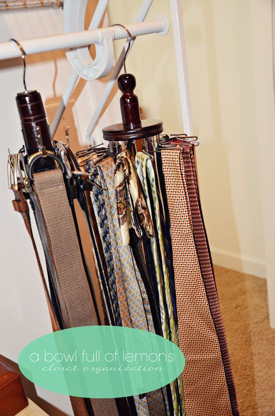How To Organize The Master Closet   Organization Hooks For Menu0027s Belts And  Ties. Bed