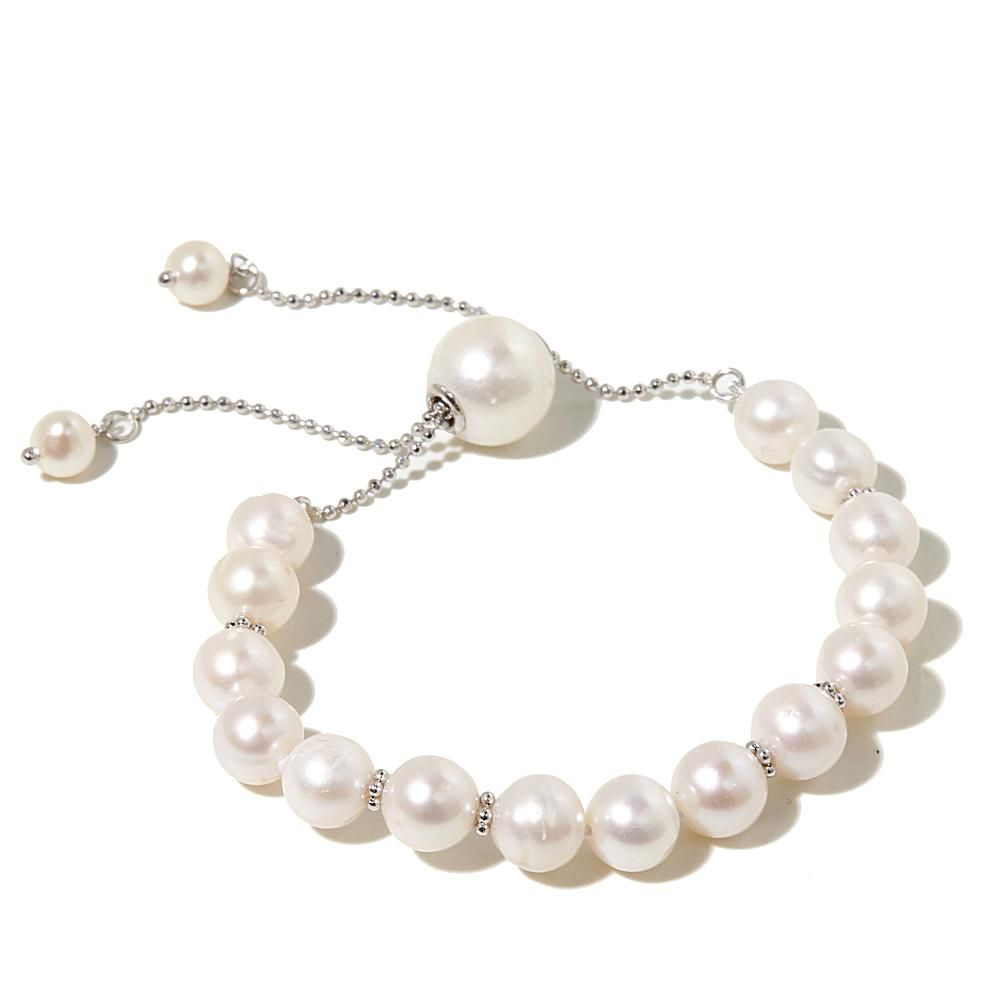 fe6f70c1440a74 Imperial Pearls by Josh Bazar Imperial Pearls 5-11.5mm Cultured Freshwater  Pearl Sterling Silver Adjustable Slide Bracelet - White