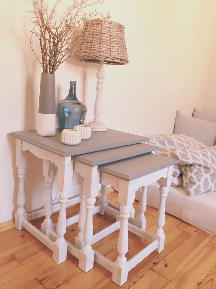 Beistelltisch 3er Set Holz Massiv Shabby Vintage Landhaus Tischchen