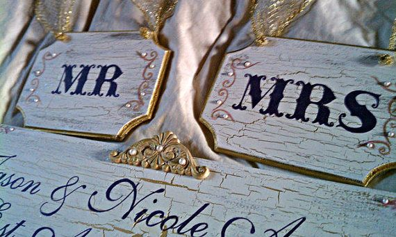 FAIRYTALE Wedding Signs With PEARLS Set Of 3 ROYAL Wedding