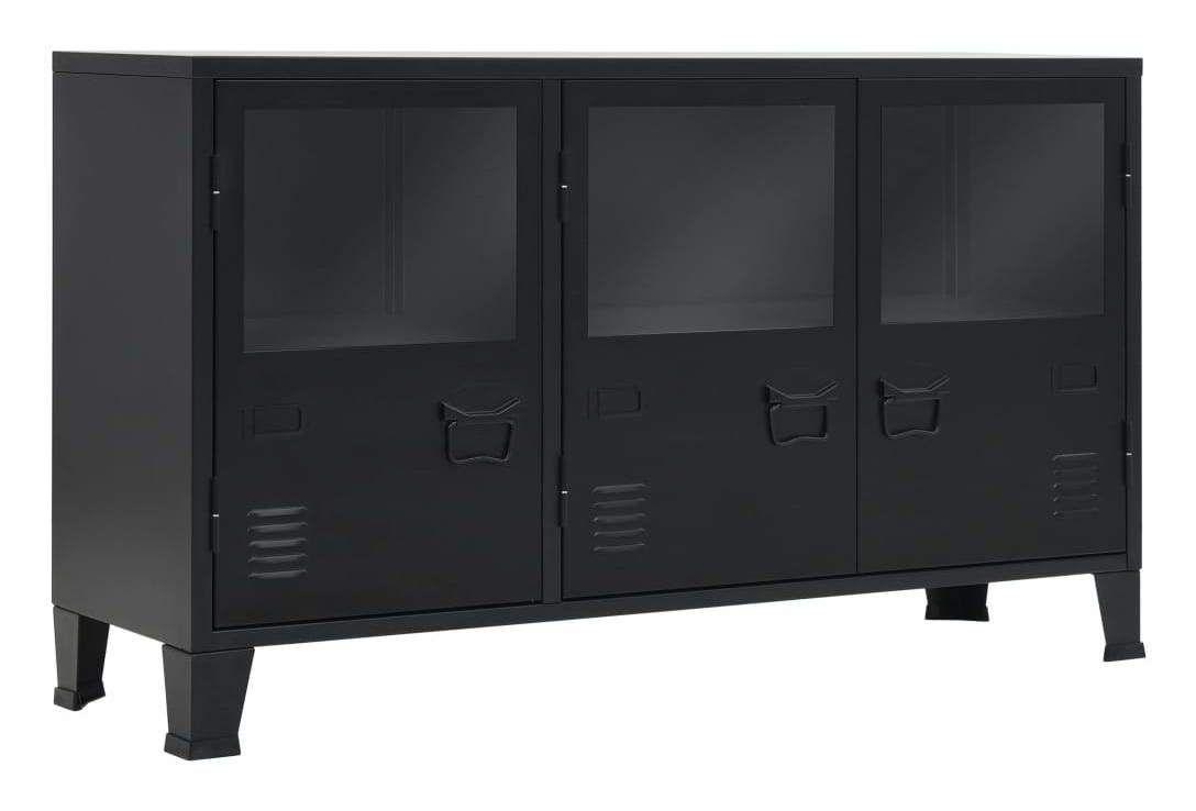 Buffet Bahut Armoire Console Meuble De Rangement Metal De Style Industriel 130 Cm Noir 4402301 In 2020 Locker Storage Storage Furniture