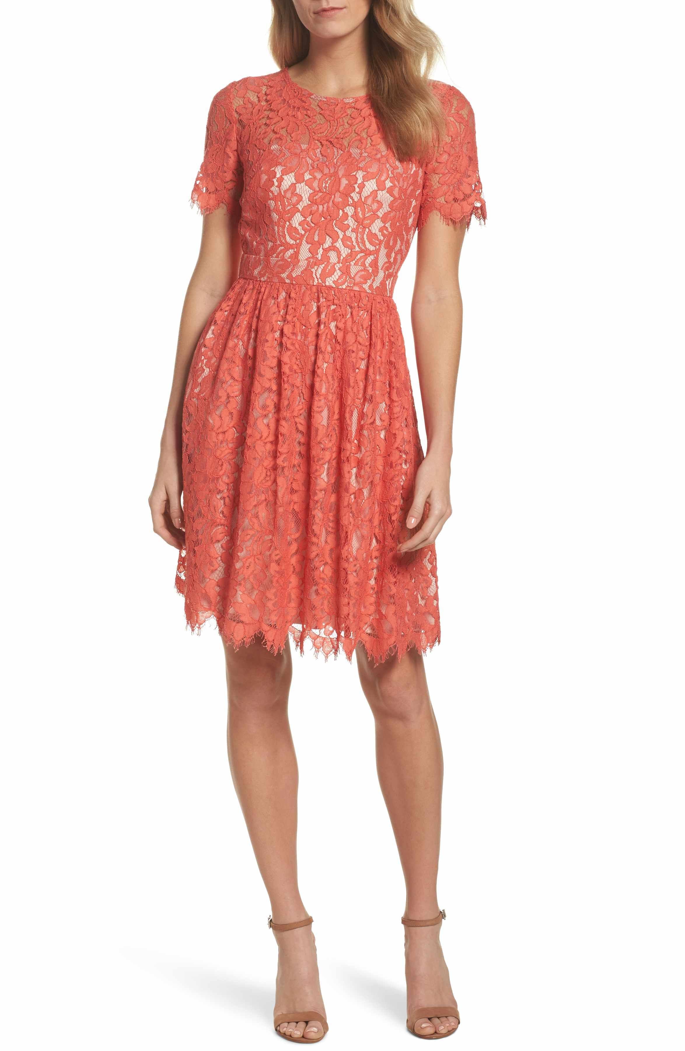 Eliza J Lace Fit Flare Dress Nordstrom Bridal Shower Outfit Wedding Guest Dress Fit Flare Dress [ 3600 x 2348 Pixel ]