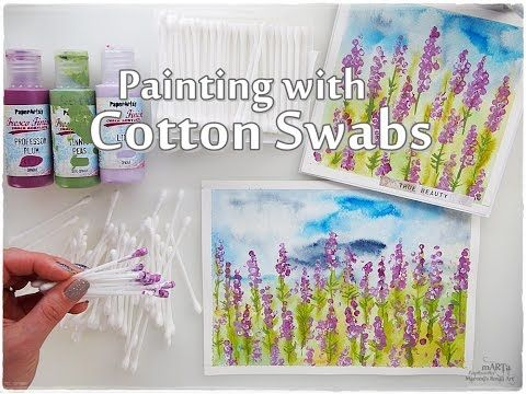 Cotton Swabs Painting Lavender Technique For Beginners Maremi