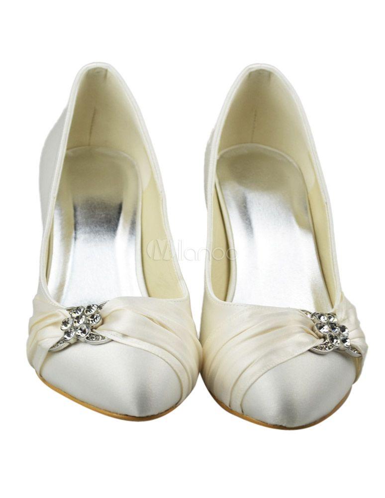 quality design 471e8 4f31d Chaussures de mariée satin et strass Ivoire -.