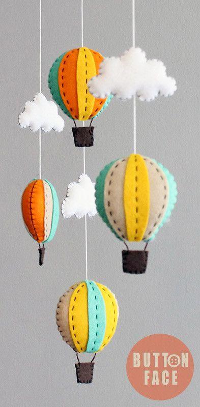 DIY kit - hot air balloon baby mobile