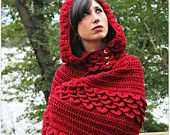 Crochet PATTERN Crocodile Stitch Hooded Cape - Permission to Sell Finished Items. $6.00, via Etsy.