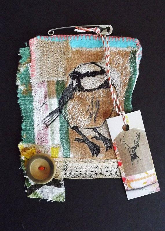 Little Bird Brooch Green Stripe by MrsBertimus on Etsy