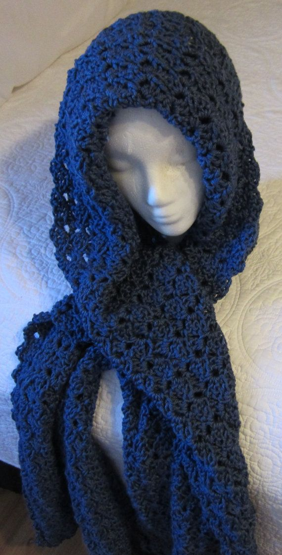 Crochet Hooded Scarf/Beautiful Blue Color by Kitkateden on Etsy, $22.00