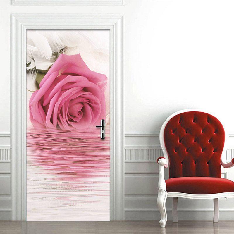 PVC Self Adhesive Waterproof 3D Wall Door Mural Sticker Romantic ...