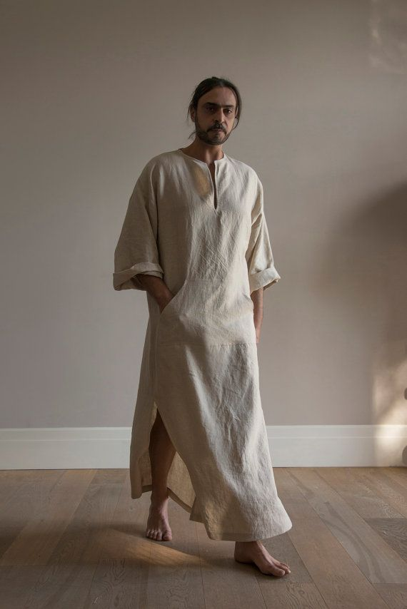 CLASSICO. Natural color pure linen tunic for men. Modern design caftan for him with front pocket.Softened fabric #linentunic