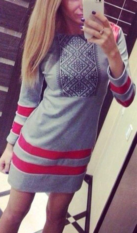 Take it Easy Print Sweatshirt Dress