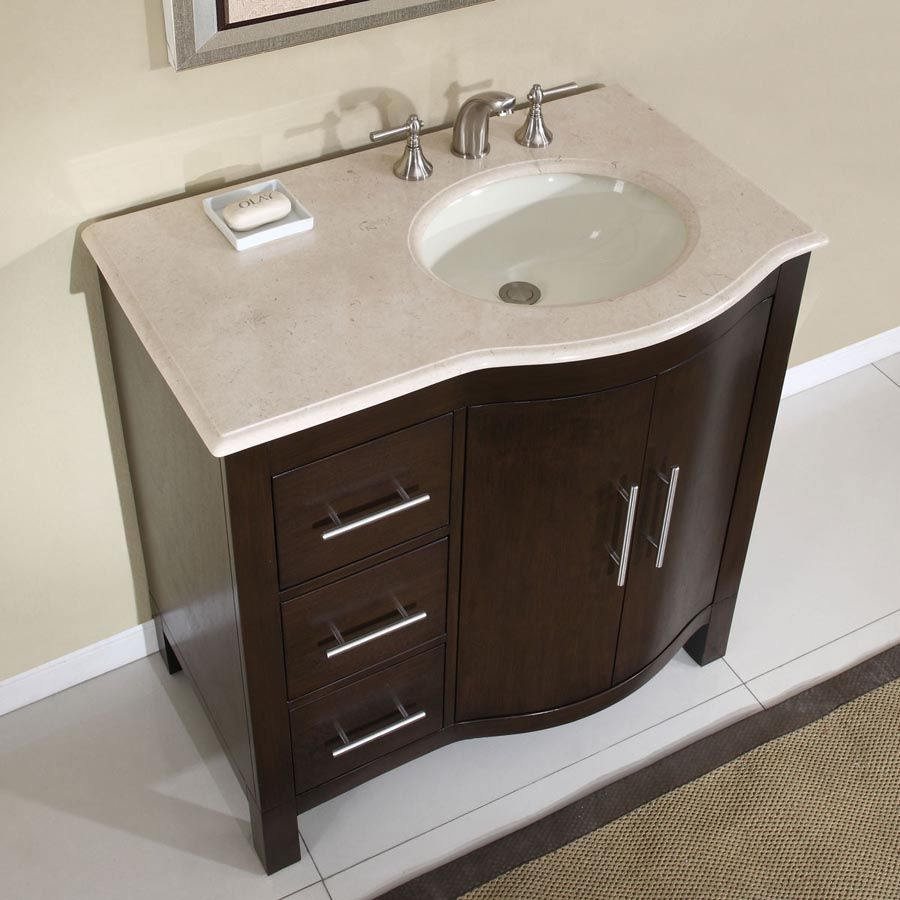 "Silkroad Exclusive 36"" Single (Right) Sink Cabinet - Cream Marfil Marble Top, Under Mount, White Ceramic Sink (3 holes)"