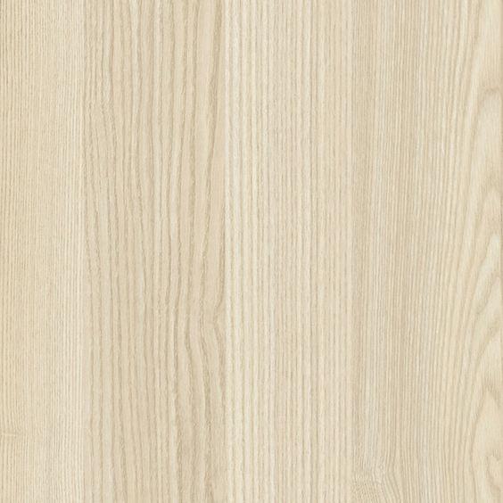 Lasiseinä, puun rakenne ja esittelyhylly vaaleasta laminaatista, esim Pfleiderer r5028 Acacia