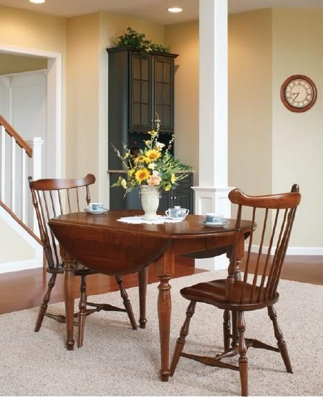 Amish Round Drop Leaf Extension Dining Room Table Small Space Solutions P